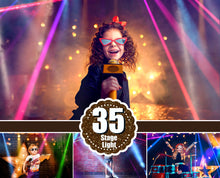 Load image into Gallery viewer, 35 Stage lights overlays, spot, laser, neon, disco, fashion, concert, party light, festive, rays, shine Effect, fog smoke, jpg