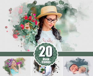 20 Watercolor portrait paint masks, photo frame, Photoshop overlay, clipping mask, photo mask, watercolor effect, fine art, png file