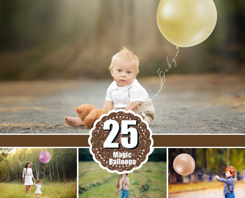 25 Magic Balloons, digital backdrop, digital background, template scene, Photoshop Mix, png file
