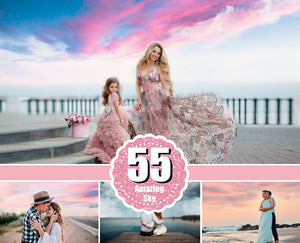 55 Beautiful amazing colorful real beach nature skies sky clouds overlays, Backgrounds, blue pastel sunset dark skies, Wedding jpg file