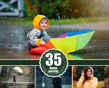 Load image into Gallery viewer, 35 Rain rainbow Photoshop Overlays, Photography Photo Prop, drops, backdrops, Photo effect, Realistic rain, Raindrops, png jpg file