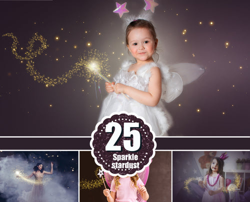 25 Magic shine fairy effects, Photoshop overlays, sparkle stardust, fairy dust, digital backdrop, golden glitter, light effect, jpg