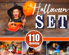 Load image into Gallery viewer, 110 Halloween overlay elements, Pumpkin, bokeh, Moon, Candle, fog, magic, Spider, mist, fog, art text, Photoshop overlay, png file