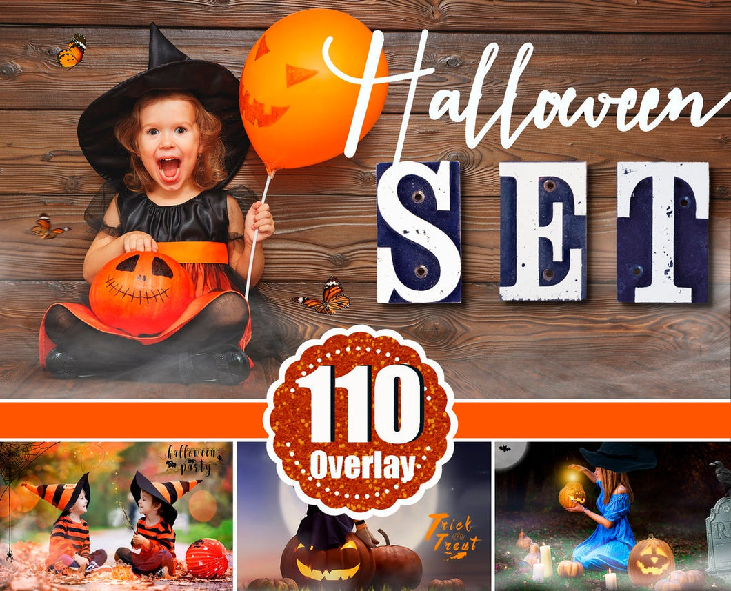 110 Halloween overlay elements, Pumpkin, bokeh, Moon, Candle, fog, magic, Spider, mist, fog, art text, Photoshop overlay, png file