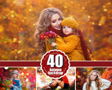 Load image into Gallery viewer, 40 autumn backdrop background texture bokeh, autumn overlay, lights, Photoshop, Сhristmas, holliday, wedding, photo session, jpg