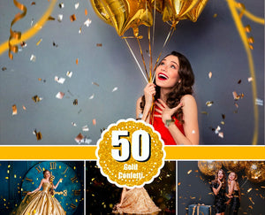 50 Gold blowing glitter confetti Photoshop Mix overlays, bokeh blow, magic Overlay, dust effect, wedding photo, gold, png file