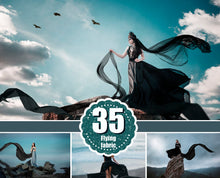Load image into Gallery viewer, 35 Flying black fabric dress Photo Overlays, Photoshop Mix Overlay, flowing cloth, flying silk satin, dark dramatick overlay, png file