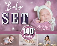 Load image into Gallery viewer, 140 Baby newborn children photo overlays, bokeh, wordart, magic effect, wing, background, frame, kiss, butterfly fairy Photoshop overlay