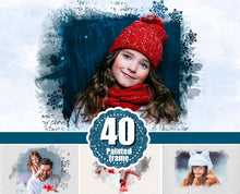 Load image into Gallery viewer, 40 Christmas portrait paint masks, photo frame, Photoshop overlay, clipping mask, photo mask, watercolor effect, winter, New Year, png