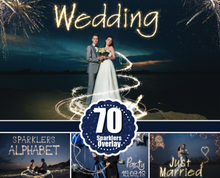 Load image into Gallery viewer, 70 Sparklers alphabet, Photoshop overlays, long exposure layer, Light painting, Digital backdrop, wedding christmas night photo sessions