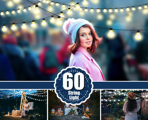 60 String light photo overlays, Fairy Light clipart, Christmas New Year lights, digital backdrop, glowing lights, bokeh, Photoshop overlays