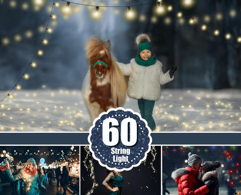 60 Christmas string light photo overlays, Fairy New Year Holiday lights, digital backdrop, glowing lights, bokeh, Photoshop Mix overlay, png