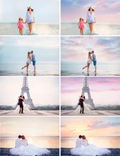 Load image into Gallery viewer, 35 Dreamy romantic pastel sky, skies clouds gimp overlay, beach realistic magical lavender sky, Photoshop Overlays, digital backdrop jpg