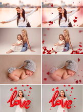 Load image into Gallery viewer, 35 Red Paper Heart Valentines day Photo Overlays, blowing love heart, blowing kisses, Valentine wedding Photoshop mix, glitter overlays png