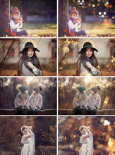 Load image into Gallery viewer, 50 Autumn Bokeh Photo Overlays, Sunlight, Gold, Crtistmas, Digital Bokeh Lights, Photoshop Overlays, Lights effect Overlay, sunbeams, jpg