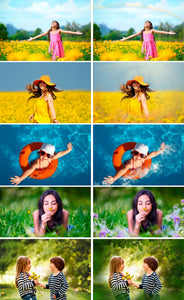Summer set Photo Overlays rain, brunch, flower, backdrop, sky, sun, ballons, Photoshop overlay, Summer Bundle, realistic effect