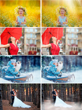 Load image into Gallery viewer, 110 weather Photoshop Mix Overlays snow sun, sunlight, fog, clouds, lightning, star, moon, rain effect, realistic nature effect, winter png