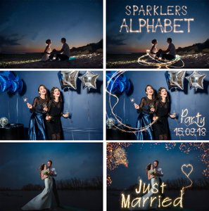 70 Sparklers alphabet, Photoshop overlays, long exposure layer, Light painting, Digital backdrop, wedding christmas night photo sessions