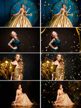 Load image into Gallery viewer, 50 Gold blowing glitter confetti Photoshop Mix overlays, bokeh blow, magic Overlay, dust effect, wedding photo, gold, png file