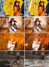 Load image into Gallery viewer, Autumn Set Photo Overlays Falling Leaves, fog, cloud, sky, raine, sun, light, background, photoshop overlay, Autumn Bundle, realistic effect