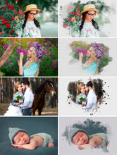 Load image into Gallery viewer, 20 Watercolor portrait paint masks, photo frame, Photoshop overlay, clipping mask, photo mask, watercolor effect, fine art, png file