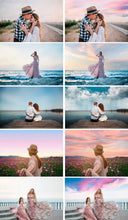 Load image into Gallery viewer, 55 Beautiful amazing colorful real beach nature skies sky clouds overlays, Backgrounds, blue pastel sunset dark skies, Wedding jpg file