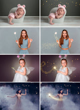 Load image into Gallery viewer, 25 Magic shine fairy effects, Photoshop overlays, sparkle stardust, fairy dust, digital backdrop, golden glitter, light effect, jpg