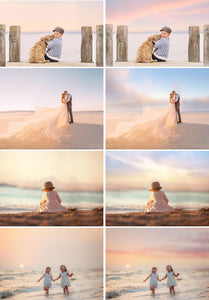 35 Pastel Sea Color Sky Overlays, Sunset, Summer Tones, Cloud Amazing Real beach nature skies overlay, Photography jpg
