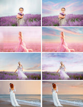 Load image into Gallery viewer, 55 pastel romantic sky photo Overlays, beautiful skies, clouds effect, realistic nature dreamy sky, beach, Digital backdrop, jpg file