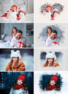 40 Christmas portrait paint masks, photo frame, Photoshop overlay, clipping mask, photo mask, watercolor effect, winter, New Year, png