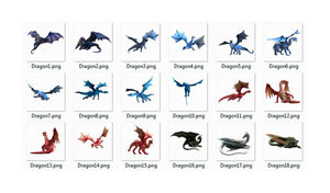 15 Dragon animal overlay, dragons clipart, digital overlays, photo edit, photoshop overlays, fantasy art, scrapbook, png