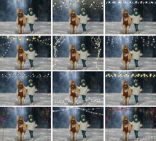 Load image into Gallery viewer, 60 Christmas string light photo overlays, Fairy New Year Holiday lights, digital backdrop, glowing lights, bokeh, Photoshop Mix overlay, png