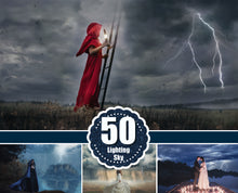 Load image into Gallery viewer, 50 lightning storm sky, Dramatic dark sky, Photo Overlays, cloud skies nature realistic rain effect, Photoshop overlay, jpg file