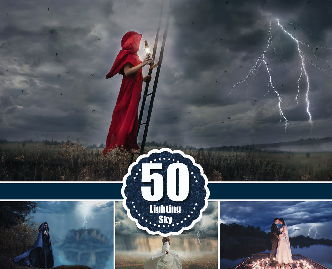 50 lightning storm sky, Dramatic dark sky, Photo Overlays, cloud skies nature realistic rain effect, Photoshop overlay, jpg file
