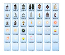Load image into Gallery viewer, 40 Light overlays, kerosene lamp, candle lamps, sunburst, magic fairy fantasy light lighting effects, Photoshop Overlay, png