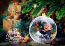 Load image into Gallery viewer, Christmas Snow Globes, digital backdrop, digital background, template scene, christmas ball holiday, sleigh bells, Christmas Cards png file