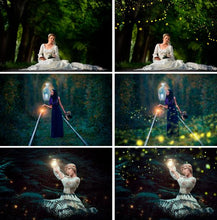 Load image into Gallery viewer, 20 Firefly overlays, Photoshop Overlay, fireflies, firefly, fairy tale, mystical, lightning bug, forest summer overlays, jpg