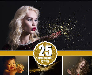 25 Gold blowing glitter Photoshop Overlays, shine dust sparkles confetti  magic pixie overlay, photo effect, Photo Overlay, png