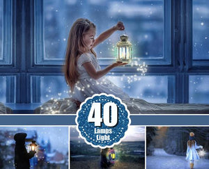 40 Light overlays, kerosene lamp, candle lamps, sunburst, magic fairy fantasy light lighting effects, Photoshop Overlay, png