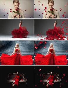 30 Falling Petals Photoshop Overlays rose petals, wedding, St. Valentine's Day, Romantic, love, magic, action, brushes, fantasy png file