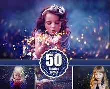 Load image into Gallery viewer, 50 Blowing Glitter Photoshop Overlays, Bokeh blow, magic Overlay, Confetti overlays, dust effect, wedding photo, JPG file