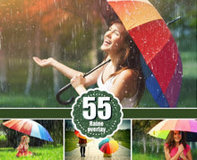 Load image into Gallery viewer, 55 Rain drops rainbow weather fog Photo Overlays, Photography Overlay, Photography Photo Prop, Photoshop overlay, Rain effect png file