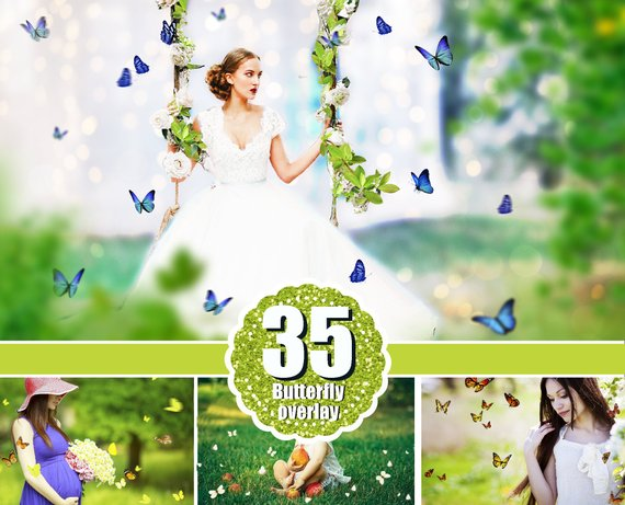 35 Butterfly Photo Overlays, Photography Overlays for Photoshop, Spring summer nature real, Flying butterfly, png file