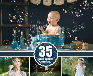 35 Bubbles Photoshop Overlays, Realistic Soap air bubbles Photo effect, Outdoor summer children photo Sessions, Professional Retouching,