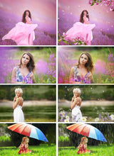 Load image into Gallery viewer, Spring set Photo Overlays rain, rainbow, flower, petals, backdrop, cloud, sky, sun, light photoshop overlay, Summer Bundle realistic effect