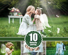 Load image into Gallery viewer, 10 Angel butterfly magic fairy wings Photo Overlays, Photoshop Overlay, White Angel Wings, Wedding, Newborn baby photoshoot effect png file