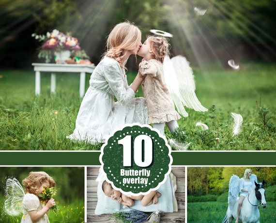 10 Angel butterfly magic fairy wings Photo Overlays, Photoshop Overlay, White Angel Wings, Wedding, Newborn baby photoshoot effect png file