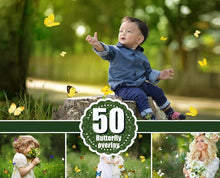 Load image into Gallery viewer, 50 Butterfly Photo Overlays, Realistic Natural flying butterflies Photo layer, Professional Photoshop effect, Photoshop overlay, png file