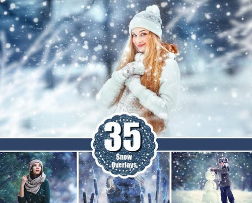 35 Snow Photoshop Overlays, snowscapes backdrops, realistic snowflakes, winter photo, freezelight effect, christmas sessions png file