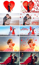 Load image into Gallery viewer, 110 Valentine Valentine's day Photo overlays, heart, love, romantic, petals, wedding, wordart photoshop overlay, background, Heart Textures